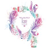 Hand drawn vector painted colorful frame with bird feathers
