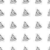 Cute cartoon hand drawn pattern with pizza slices. Sweet vector black and white hand drawn pattern. Seamless monochrome doodle hand drawn pattern for fabric, wallpapers, wrapping paper, cards and web.
