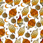 Hand Drawn Vector Ramadan Background. Colorful Seamless Pattern. Islamic Holiday. Lanterns, stars, crescent, arabian style. Watercolor texture.