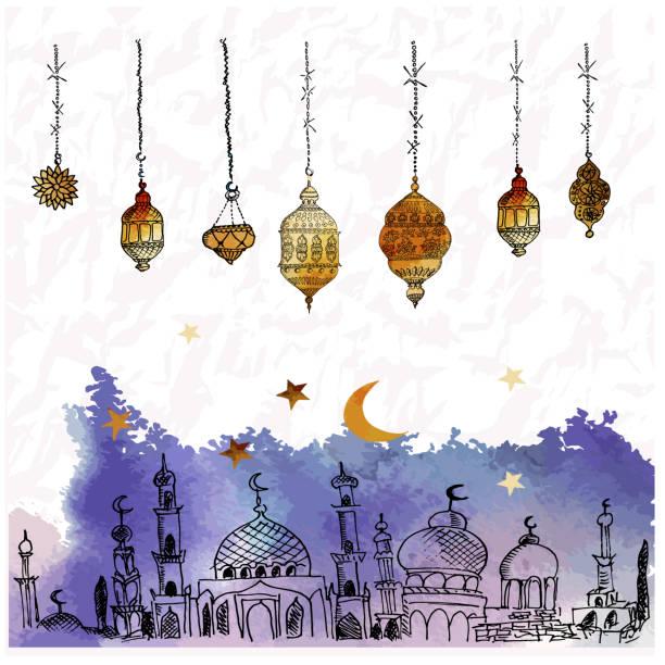 handgezeichnete vektor ramadan hintergrund. bunte seamless pattern. islamischer feiertag. laternen, sterne, halbmond, arabischen stil. aquarell-textur. - ramadan kareem stock-grafiken, -clipart, -cartoons und -symbole