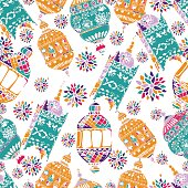 Hand Drawn Vector Ramadan Background. Colorful Seamless Pattern. Islamic Holiday.Hand Drawn Vector Ramadan Background. Colorful Seamless Pattern. Islamic Holiday.