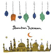 Hand Drawn Vector Ramadan Background.