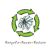 Hand drawn vector recycle logo. Sketch doodle recycle reuse symbol with flower isolated on white background. Recycle sign for ecological design zero waste lifestyle.