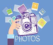 Hand drawn vector retro camera. Take a good shot!