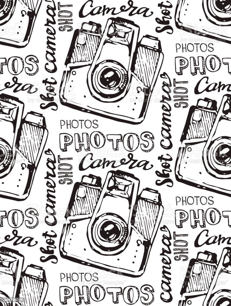 Hand drawn vector retrocamera. Take a good shot! royalty-free hand drawn vector retrocamera take a good shot stock vector art & more images of antique