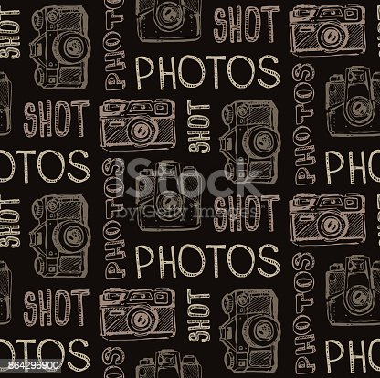 Hand Drawn Vector Retrocamera Take A Good Shot Stock Vector Art & More Images of Antique 864296900