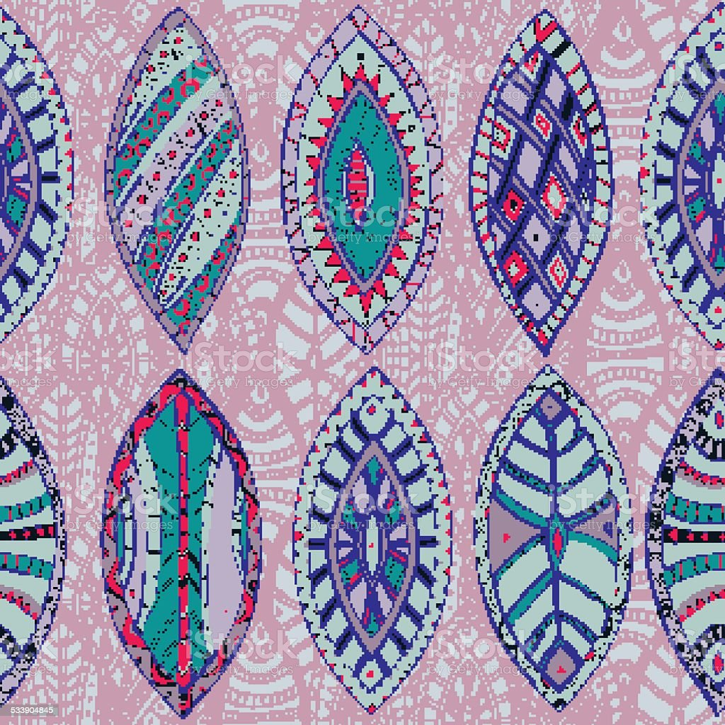 Hand drawn vector seamless abstract ethnic pattern with ornamental foliage. vector art illustration