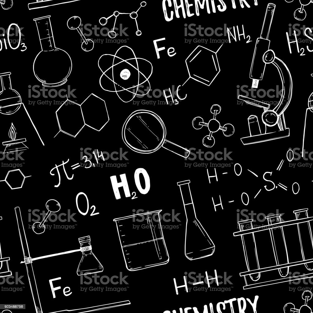 Hand drawn vector seamless pattern chemistry chemical elements test chemistry chemical elements test tubes microscope ccuart Images