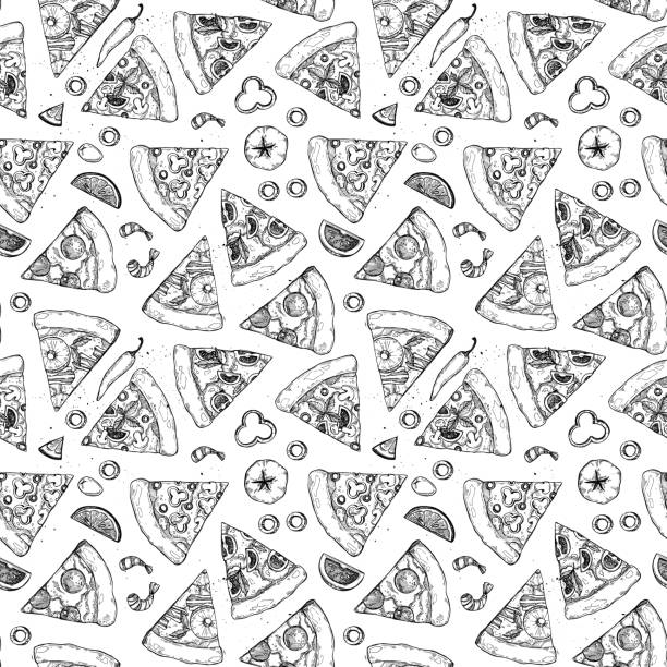 Hand drawn vector seamless pattern - pizza. Types of pizza: Pepperoni, Margherita, Hawaiian, Mushroom. Sketch style vector art illustration