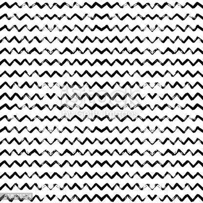 istock Hand drawn vector seamless pattern with zigzag stripes. 518621394