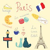 Hand drawn vector set of Paris themed doodles