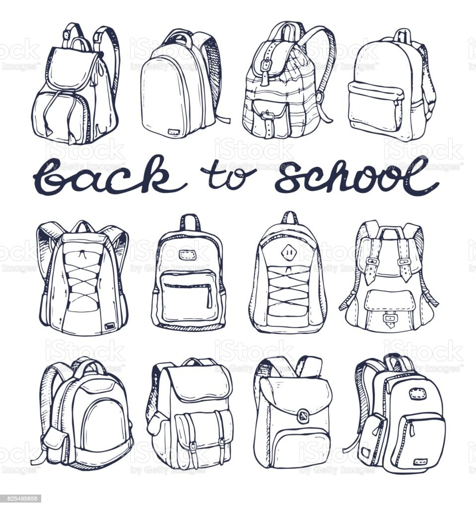 Hand drawn Vector Set of Sketch Doodle Backpacks. Casual Backpack, Fashion Backpack. Vector illustration. Back to school. векторная иллюстрация