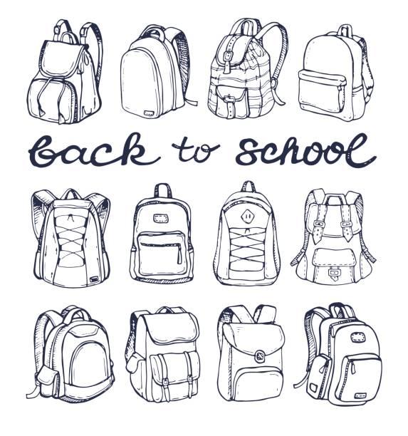Bекторная иллюстрация Hand drawn Vector Set of Sketch Doodle Backpacks. Casual Backpack, Fashion Backpack. Vector illustration. Back to school.