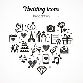 Hand drawn vector set wedding icons: marriage, rings, couple, love