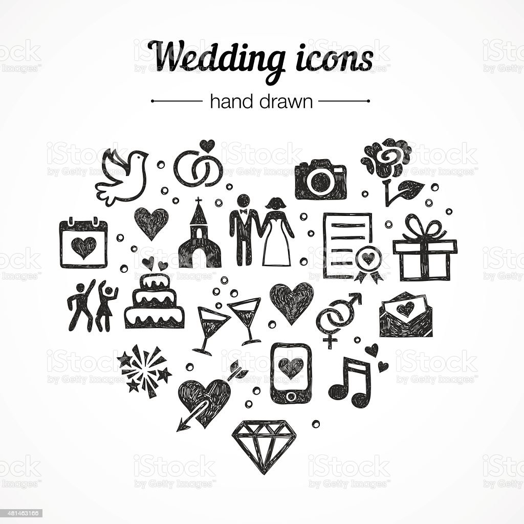 Hand drawn vector set wedding icons: marriage, rings, couple, love vector art illustration