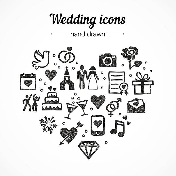 hand drawn vector set wedding icons: marriage, rings, couple, love - marriage stock illustrations