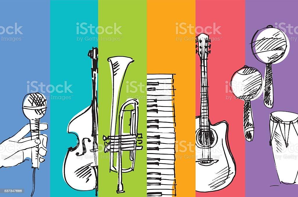hand drawn vector simple sketch of music illustration vector art illustration