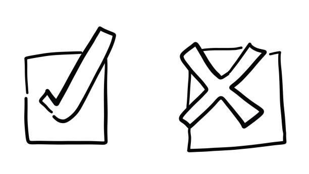 Handgezeichnete Vektorskizze Illustration von Häkchen und x-Zeichen. – Vektorgrafik