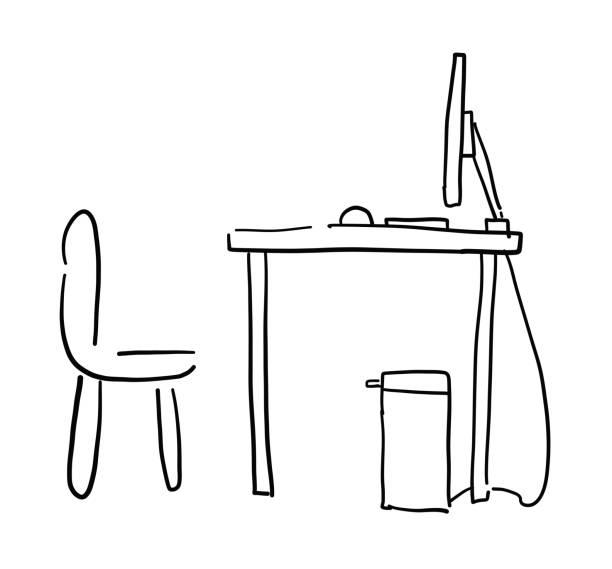 Hand gezeichnetVektor Skizze Illustration von Computer Schreibtisch und Stuhl. – Vektorgrafik