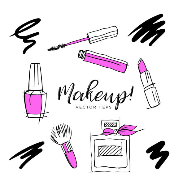 Hand drawn vector sketch, make up accessories, lipstick, abstract perfume, nail polish, makeup brush, mascara. Isolated on the white background. Hand drawn vector sketch, make up accessories, lipstick, abstract perfume, nail polish, makeup brush, mascara. Isolated on the white background. white nail polish stock illustrations