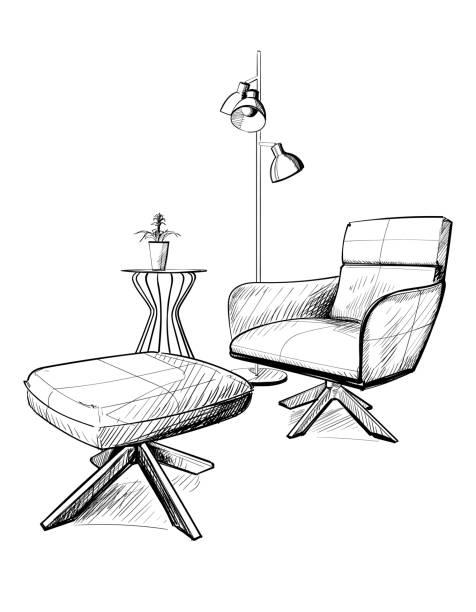 Hand gezeichnete Vektorskizze. Weicher Sitz. – Vektorgrafik