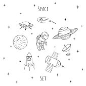 Hand drawn vector space elements: cosmonaut, satelites, rocket, planets, falling star and UFO. Cosmos set isolated on the white background.