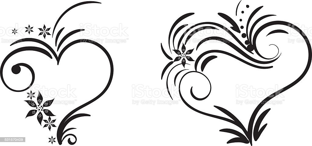 hand drawn vector swirl heart elements stock vector art more rh istockphoto com floral swirl vector art swirl floral design vector art