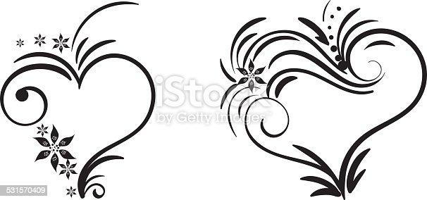 hand drawn vector swirl heart elements stock vector art