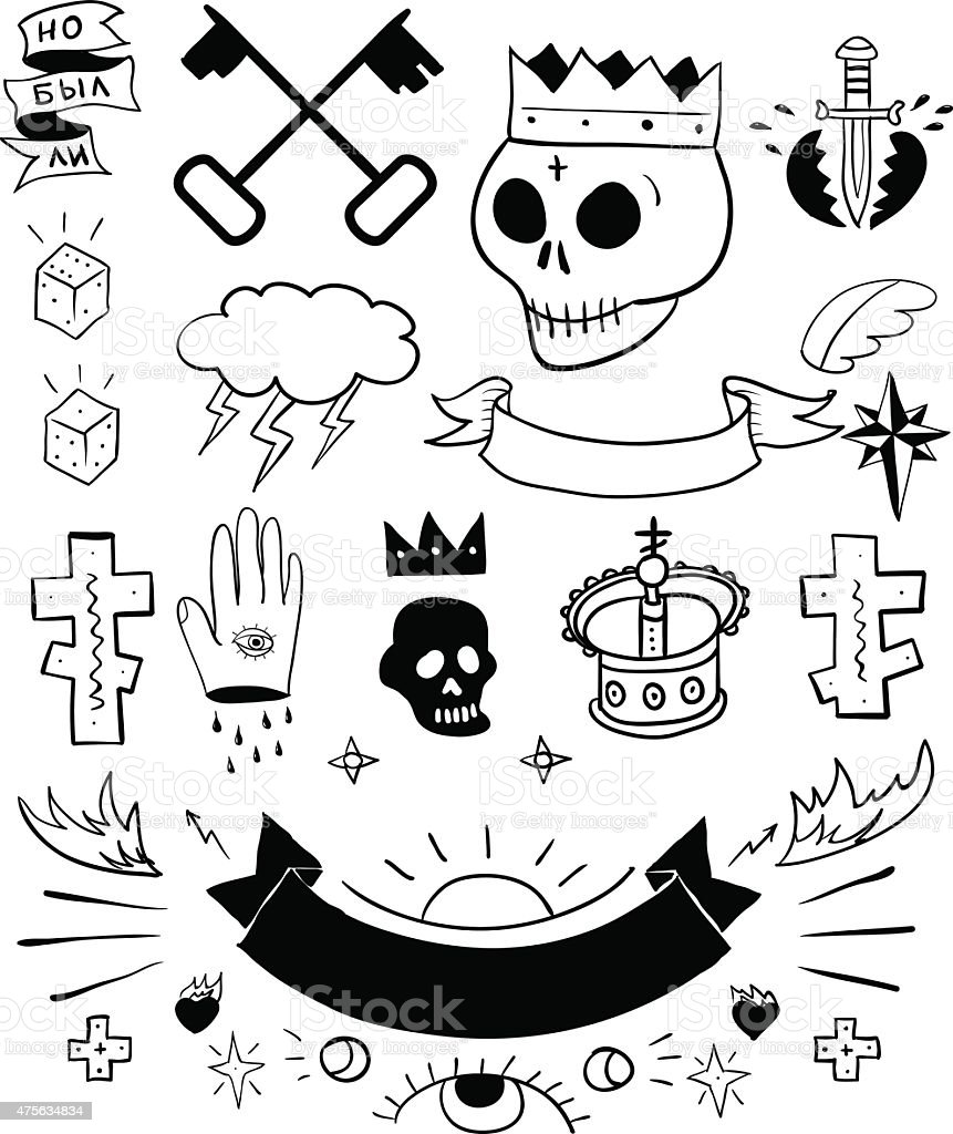Conjunto de vectores dibujados a mano tatuaje - ilustración de arte vectorial