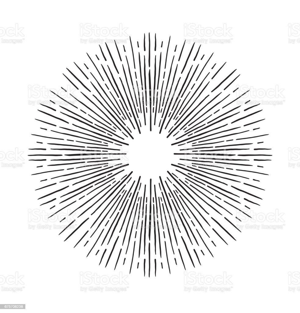 手工繪製的向量的復古元素-森伯斯特 (爆裂射線)。完美的請柬、 賀卡、 博客、 海報和更多 免版稅 手工繪製的向量的復古元素森伯斯特 爆裂射線完美的請柬 賀卡 博客 海報和更多 向量插圖及更多 亮粉 圖片