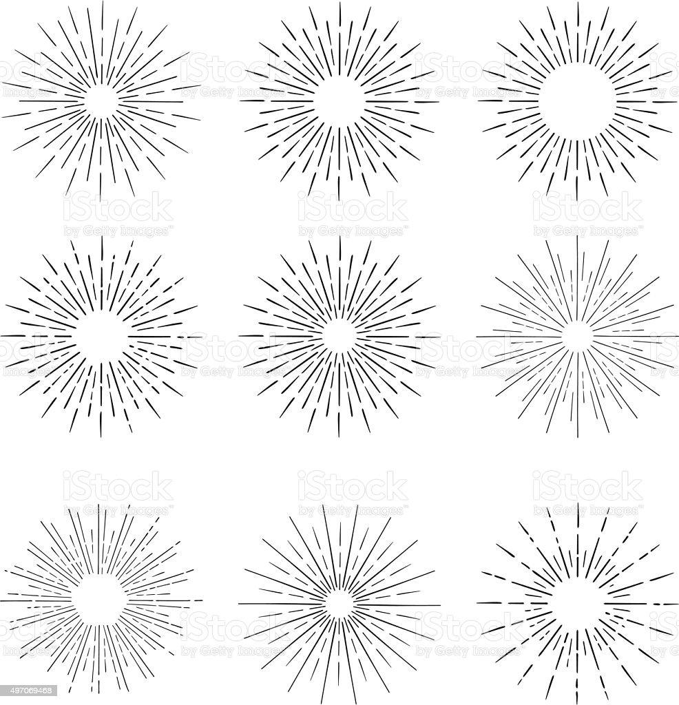 vector elementos vintage dibujados a mano-sunburst (estallido) rayos del sol. - ilustración de arte vectorial