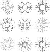 Hand Drawn vector vintage elements - sunburst (bursting) rays.