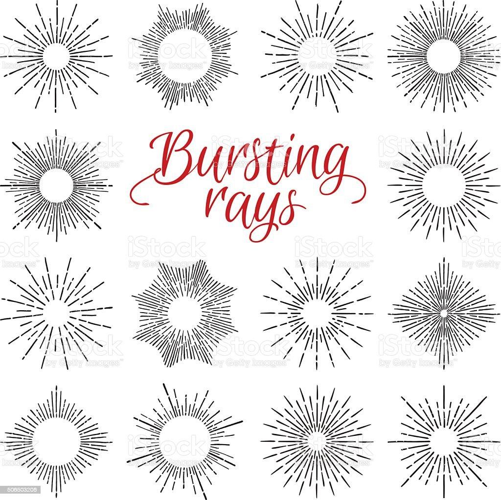 Desenhado à mão elementos do vetor vintage com Sunburst transbordando de sol - ilustração de arte em vetor