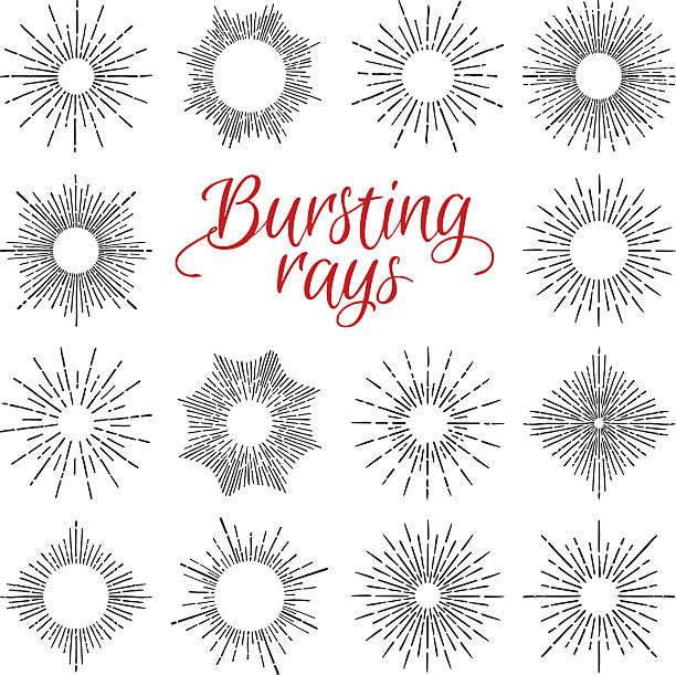 手描きベクトルヴィンテージの要素-サンバースト(数多く光線 - 星のタトゥー点のイラスト素材/クリップアート素材/マンガ素材/アイコン素材