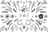 Hand Drawn vector vintage elements ( laurels, frames, leaves, berries, flowers, swirls and feathers). Perfect for invitations, greeting cards, quotes, blogs, Wedding Frames, posters and more.