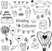 Hand Drawn vector Wedding collection. Perfect for invitations