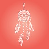 Hand drawn vector white dream catcher with feathers on red
