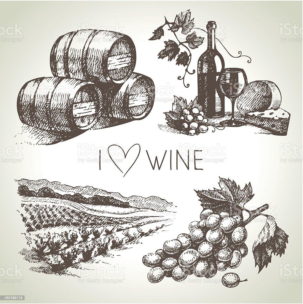 Hand drawn vector wine set royalty-free stock vector art