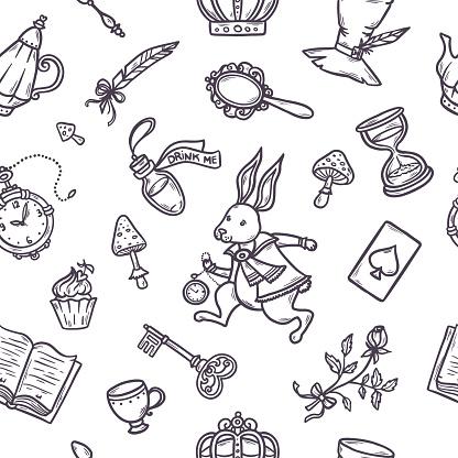Hand drawn vector wonderland seamless pattern.