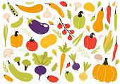 Hand drawn vegetable set, cartoon style vector illustration isolated on white background. Fresh, organic, delicious vegetables, healthy vegetarian food. Vegan menu. Tomato, eggplant, pumpkin, garlic..