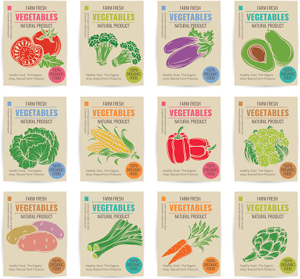 Hand drawn vegetables posters set.