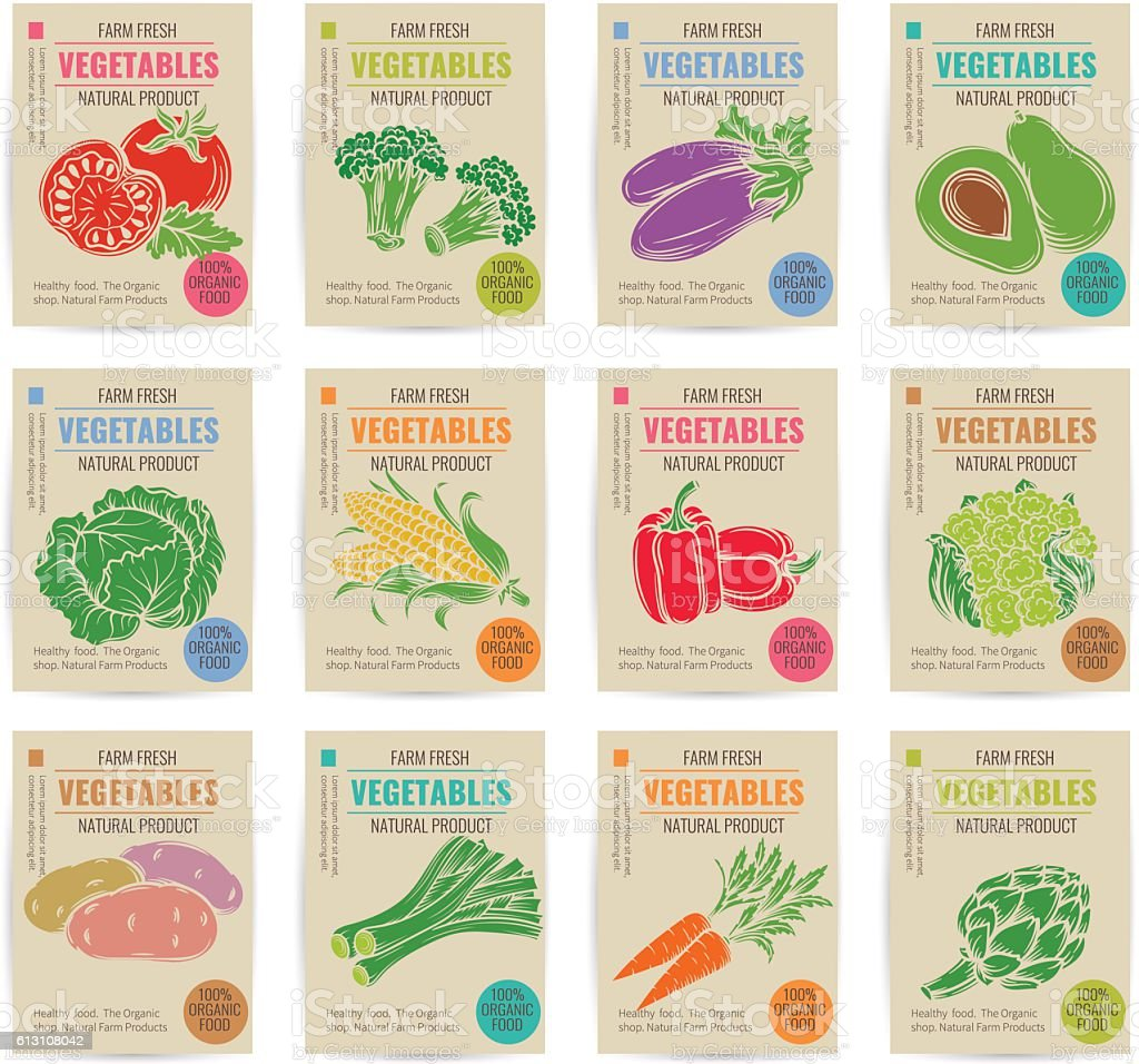Hand drawn vegetables posters set. - Illustration vectorielle