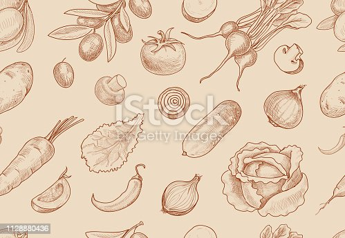 Hand drawn vegetables seamless pattern. Healthy food vector background.