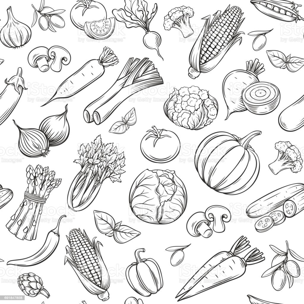 Hand drawn vegetables seamless pattern. vector art illustration