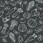 Hand drawn vegetables seamless pattern. Healthy food vector background. White on black.