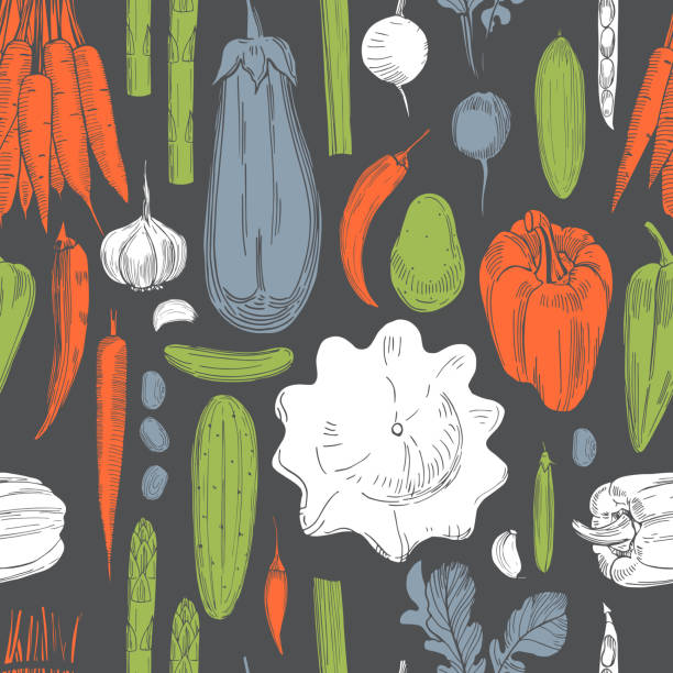 Hand drawn vegetables.  Vector pattern Hand drawn vegetables on dark background.  Vector  seamless pattern crucifers stock illustrations