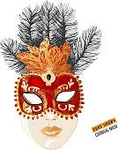 Hand drawn Venetian carnival face mask