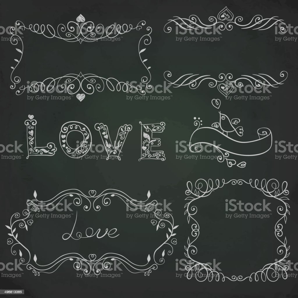 Hand drawn vignettes on the board vector art illustration