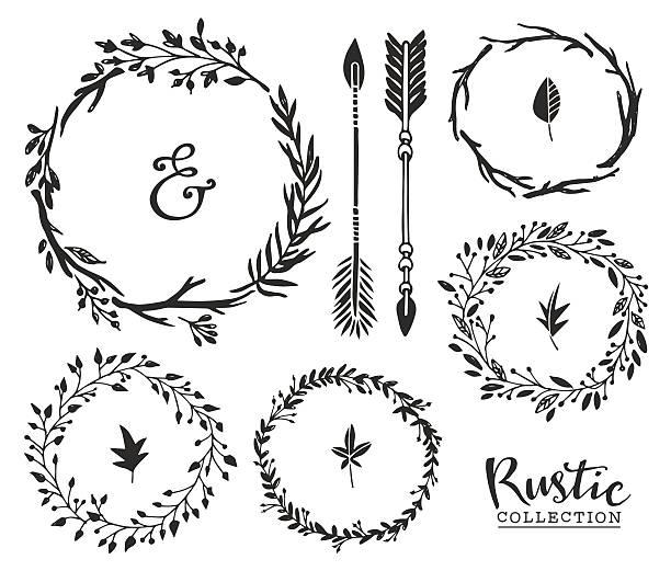 stockillustraties, clipart, cartoons en iconen met hand drawn vintage ampersand, arrows and wreaths. - borden en symbolen