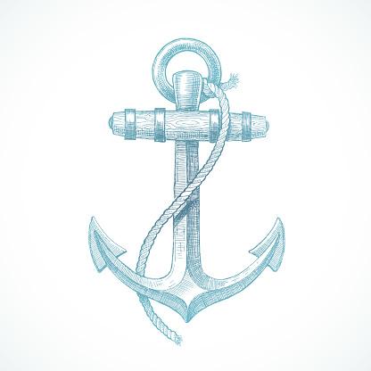 Hand drawn vintage anchor - vector illustration.
